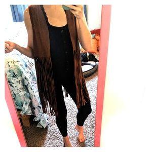 NWOT faux suede leather fringe vest boho cowgirl